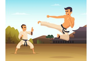 Karate fighters Cartoon background