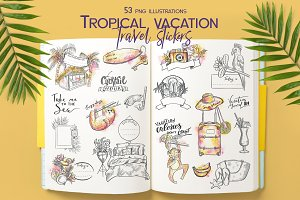 Tropical vacation Travel sticker set