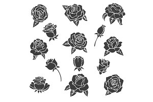 Black illustrations of roses. Vector