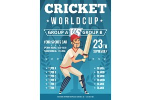 Sport poster of cricket. Placard