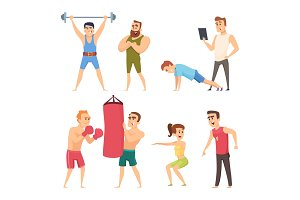 Personal trainer in gym. Vector set