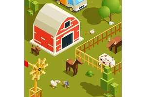 Isometric farm landscape. Village