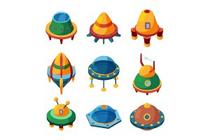 Ufo and spaceships. Isometric vector