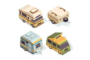 SUV and camping cars. Isometric