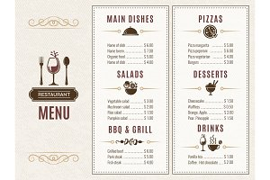 Design template of restaurant menu