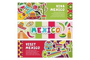 Horizontal banners with Mexican