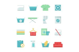 Laundry symbols. Vector icons set