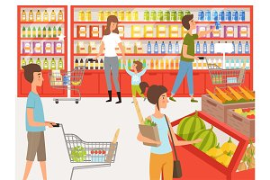 Shoppers in supermarket. Background