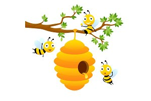 Bee characters. Vector cartoon