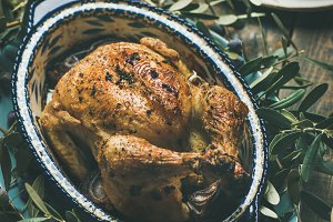 Whole roasted chicken decorated with
