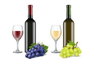Grapes and wine glasses. Vector