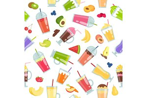 Smoothie seamless pattern. Vector