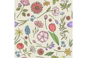 Flowers and plants pattern. Seamless