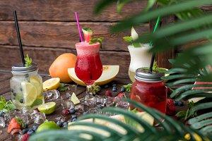 Fruit cocktails in summer