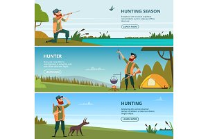Hunters on hunt banners. Cartoon