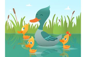 Background cartoon duck