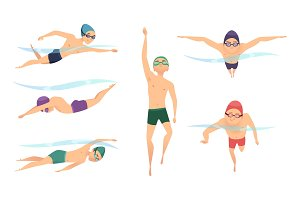 Vector swimmers. Various characters