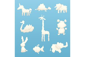 Animals from clouds. Various shapes