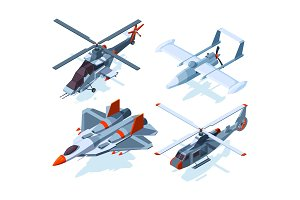 Aircraft isometric. Warplanes and