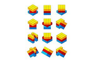 Rubiks cube. Various positions of
