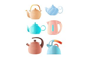 Cartoon kettles. Big set of various