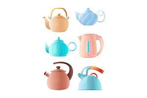 Cartoon kettles. Big set of various
