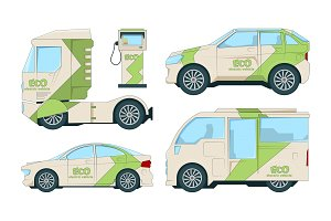 Eco electric automobiles. Cartoon