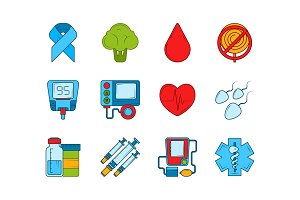 Diabetic medical symbols. Insulin