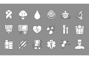 Medical black symbols. Monochrome