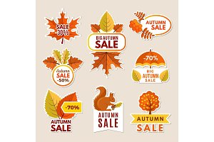 Autumn labels at sales. Banners with
