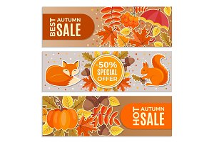 Banners of autumn sales. Autumn