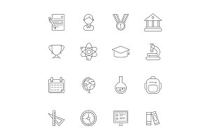 Science symbols. Vector monoline