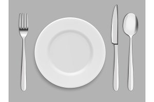 Dishes and cutlery. Fork, spoon and
