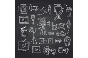 Vector cinema doodle icons on black