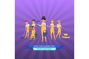 Vector cleaning service cartoon men
