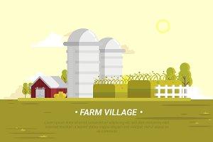 Farm Village - Vector Landscape