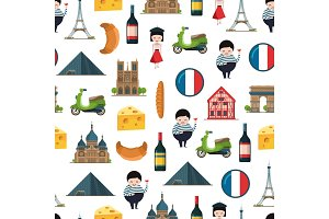 Vector cartoon France sights and