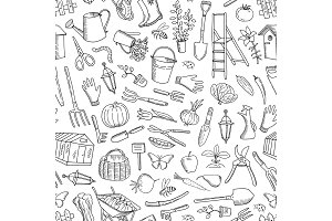 Vector gardening doodle icons
