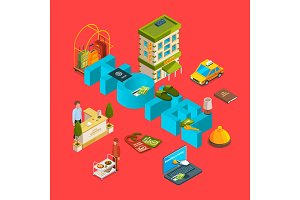 Vector isometric hotel icons