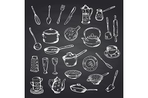 Vector set of hand drawn kitchen