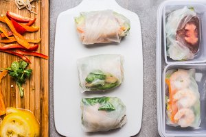 Vegetarian rice paper rolls lunch