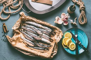 Raw sardines cooking preparation