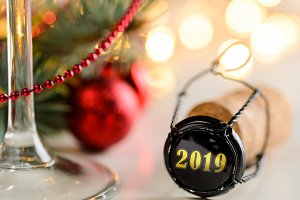 christmas or new year sparkling wine