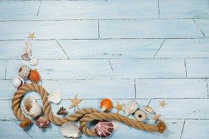 Blue wooden background in marine sty
