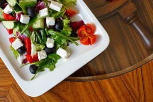 Greek salad on the table in the rest