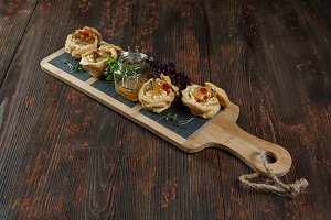 Tartlets with liver pate from duck o