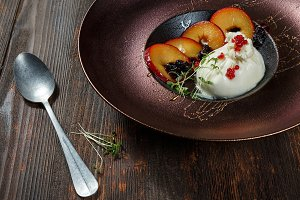 Burrata cheese with gazpacho sauce a
