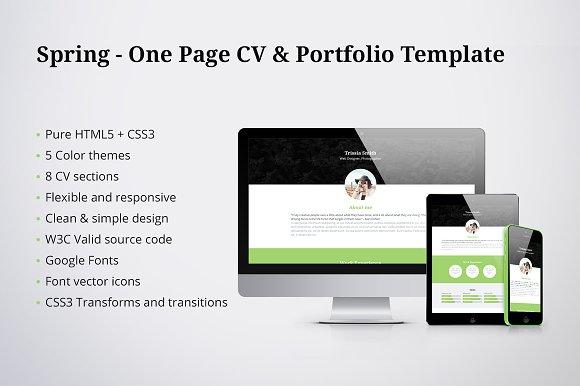 50% OFF - Spring - CV & Portfolio ~ HTML/CSS Themes ~ Creative Market