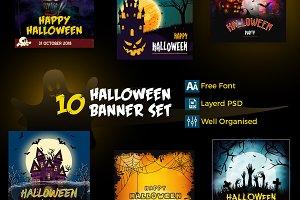 10 Halloween Banner Set