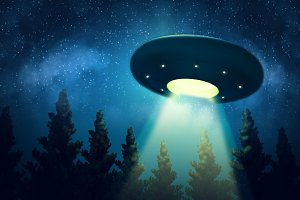 Ufo is hovering over the trees
